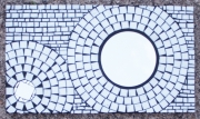 deco design abstrait mosaique miroir rond decoration : Blanc