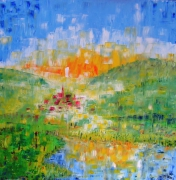 Tableau peinture couleur chaude galerie creation - Tableau couleur chaude ...