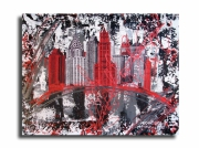 tableau villes new york design rouge collage : Tableau new york city rouge noir gris blanc moderne design
